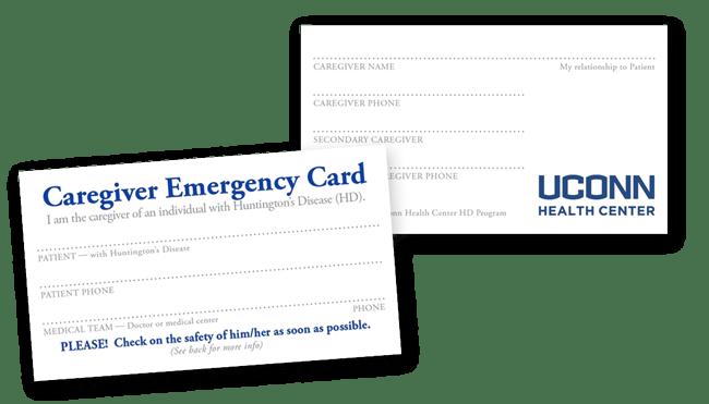 Huntington's Disease Caregiver ID card, UConn