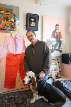 Photo by the local paper foran article about Kathy's art exhibit.