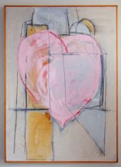 Hearts #1 – 26 x 36 Acrylics on canvas with graphite.