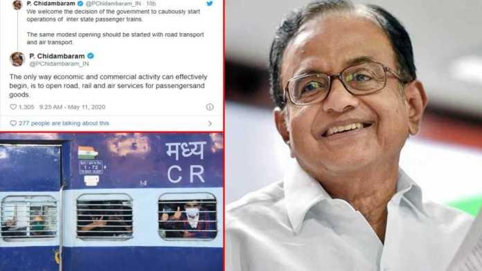 Coronavirus: P. Chidambaram welcomes decision to restart rail services