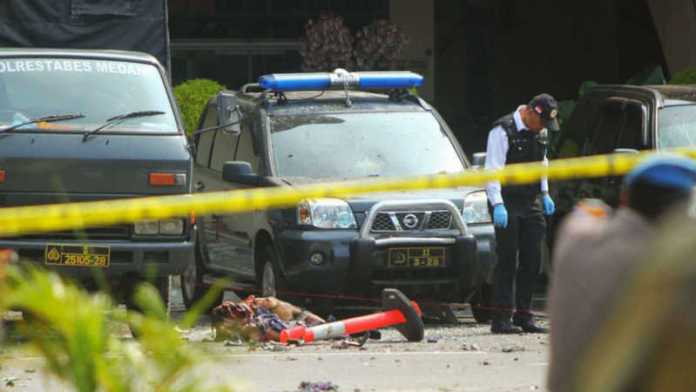 Suspected suicide bombing targets police in Indonesia's Medan