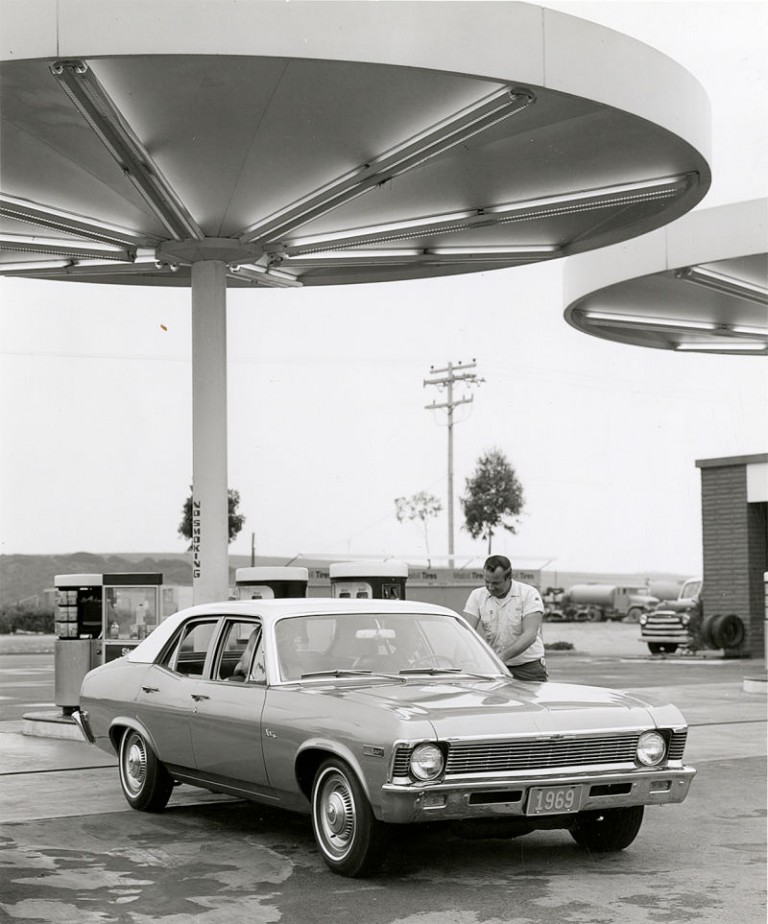 A Noyes Gas Station in the USA, 1969. Note the aluminum cylindrical pumps in the back ground.