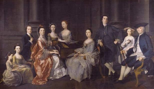 Wolstan Dixie, 4th Bt (1701–1767) of Bosworth Hall, Leicestershire, and his family seated around a harpsichord, by Henry Pickering (1755)