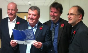 War research: from left are David Penman, John Dilley, Dr David Clarke and Professor John Young