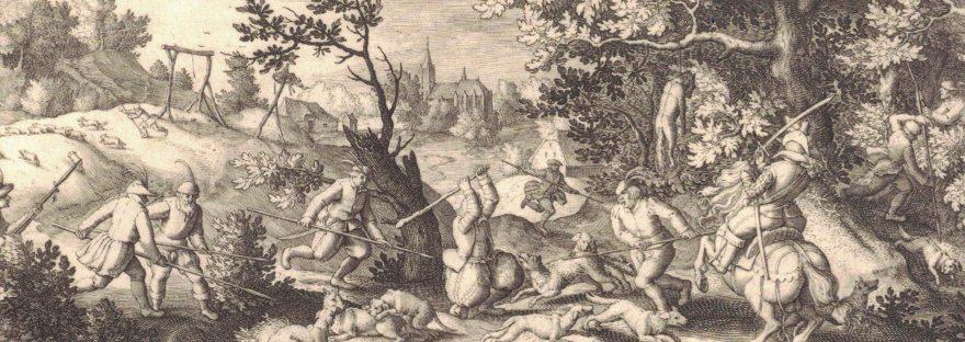 Wolvenjacht. Gravure uit 1612 van Pieter Serwouters naar David Vinckboons (Amsterdam, Rijksmuseum)