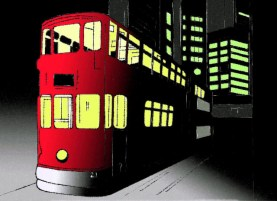 street car at night