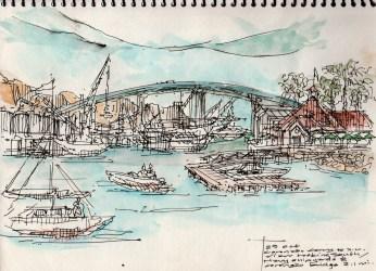 on site sketch during ferry ride San Diego to Coronado- leigh ann pfeiffer [SchemaFlows2014] view south showing thresholds or Coronado + San Diego & Coronado Bridge