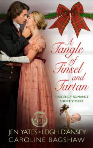 The cover of a Tangle of Tinsel and Tartan with new Quills logo