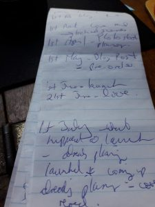 Leigh's jotter pad with very untidy scribble.