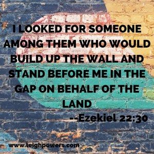 I looked for someoneamong them who wouldbuild up the wall and stand before me in the gap on behalf of the land