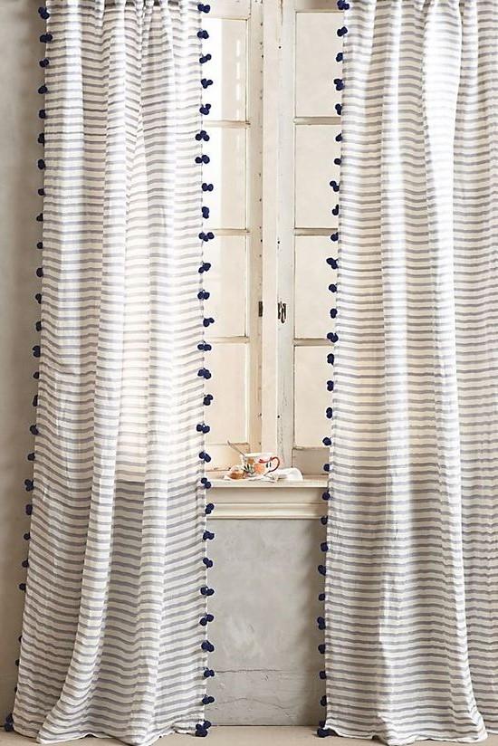 Anthropologie Readymade Curtains Pompom Trim