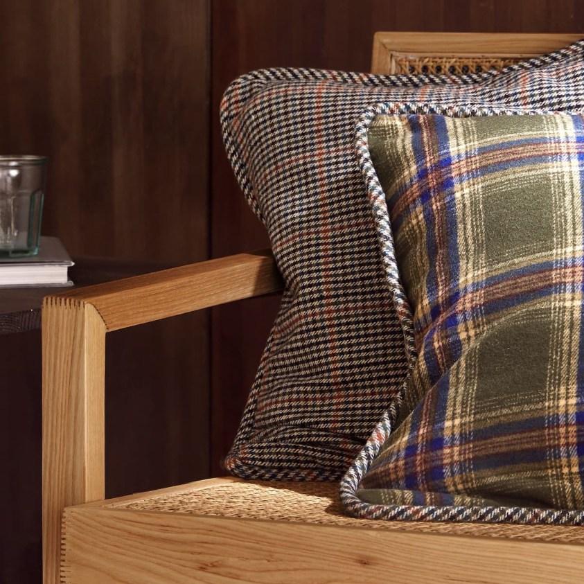 cosy autumn blog - green tartan cushion