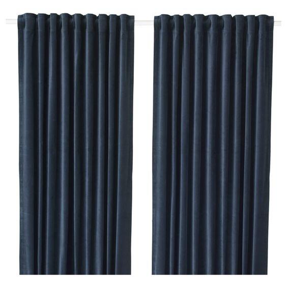 cosy autumn blog - navy velvet curtains