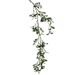 A mistletoe garland against a white background