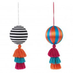 Bright patterned baubles with tassels