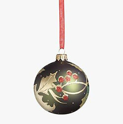 Green christmas bauble decoration with  holly leaves