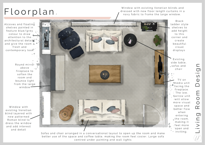 a detailed floorplan of a living room