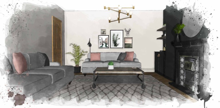 Living Room Watercolour Sketch by Leighton Jones Interiors