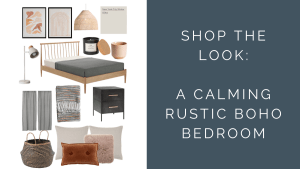 Rustic Boho Bedroom Blog Post Feature Image with moodboard