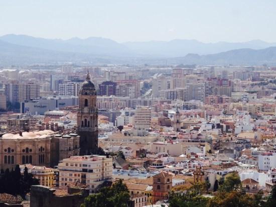 Malaga City from Gibralfaro Castle Spain