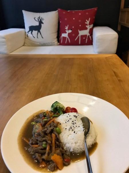 Black pepper beef and rice Tongli water Town Suzhou China
