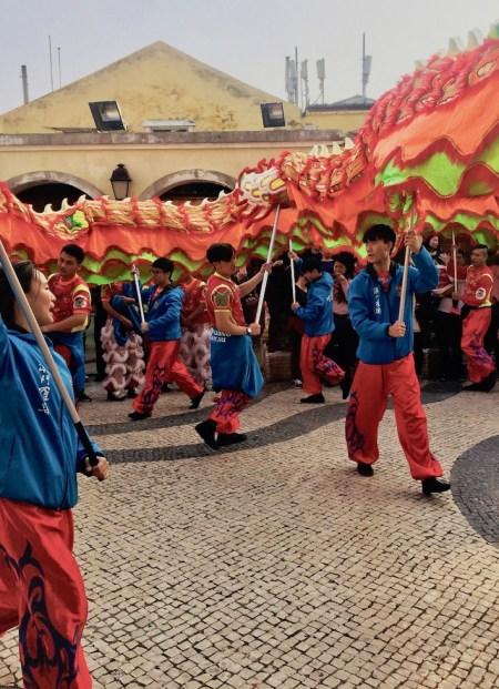 Chinese New Year dragon dance Coloane Island Macau.