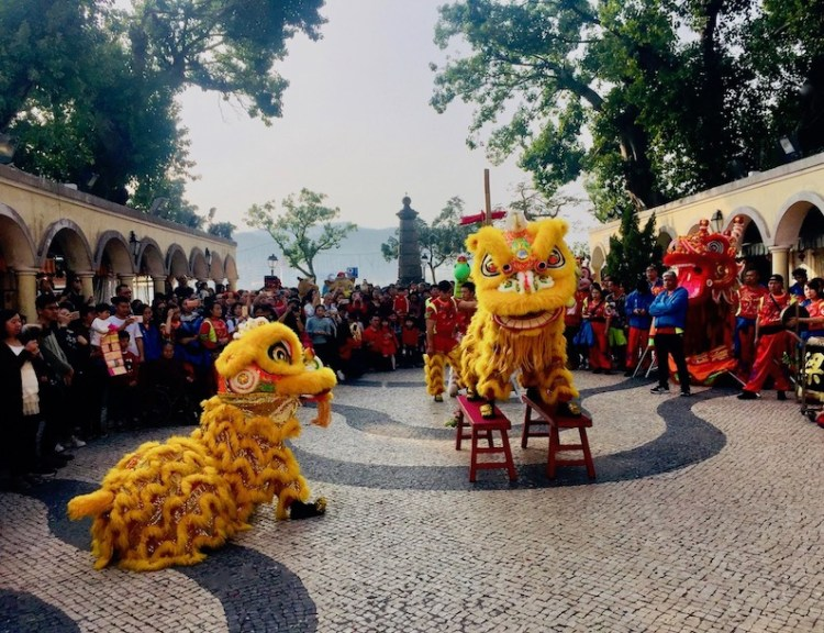 Chinese New Year dragon dance Coloane Village Macau.