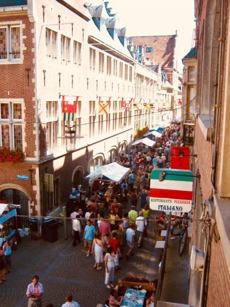 Muntstraat Bar and restaurant Street Leuven Belgium.