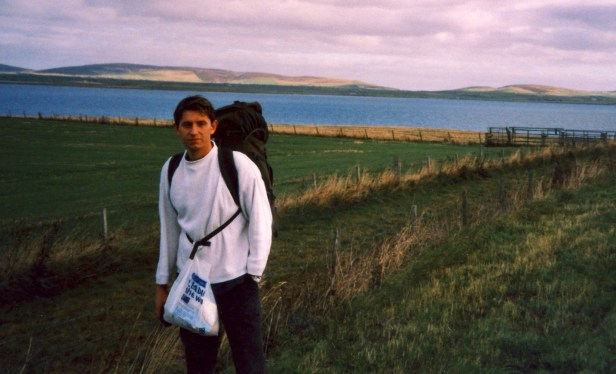 Hiking in Orkney from Stromness to Kirkwall Scotland.