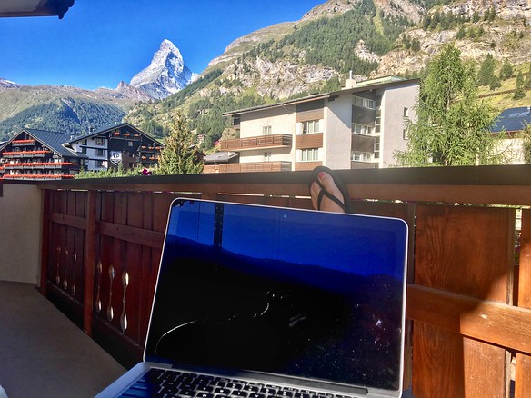Catching up on email from my hotel balcony(La Ginabelle, Zermatt)