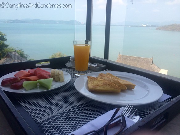 Room service breakfast on the balcony
