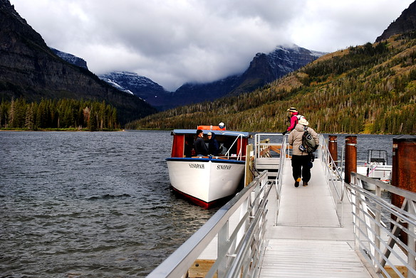 Boarding the boat (Sinopah) across Two Medicine Lake