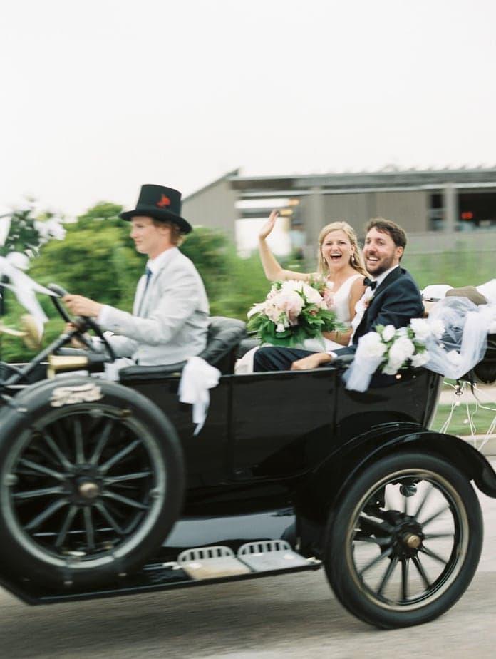 vintage getaway car weekapaug inn wedding