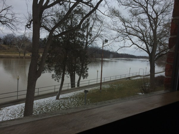 A view from the library of the river walk he had planned to use. It is obviously a bit chilly outside.