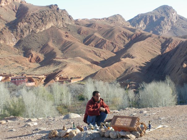 Moroccan salesman encountered at Atlas Mountains, Morocco, January 2010.