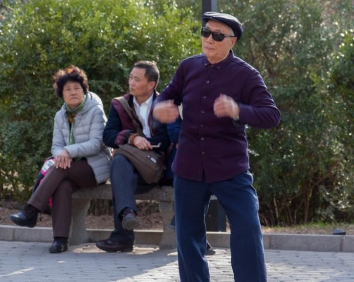 """Competition for the """"dancing aunties"""" in Beijing? Photo © Timothy Van Gardingen"""