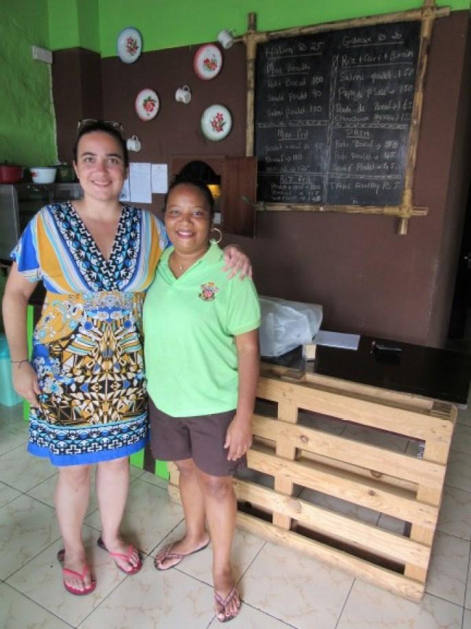Me and Nicole Fortuno, at her restaurant L'Assiette Longtemps in Trou d'Eau Douce, Mauritius. (Photo: Maximilian Georg)