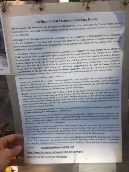 English-language information sheet of counter monument in Budapest. (Photo: Daniel Leon)