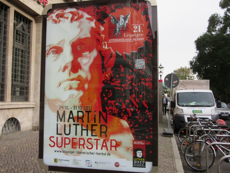 Poster advertising a literary festival in Leipzig, centering on Luther. (Photo: Maximilian Georg)