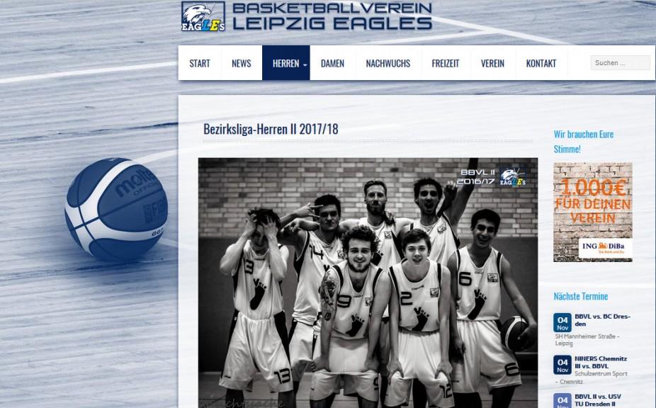 Leipzig Eagles website screenshot: 2nd men's team.