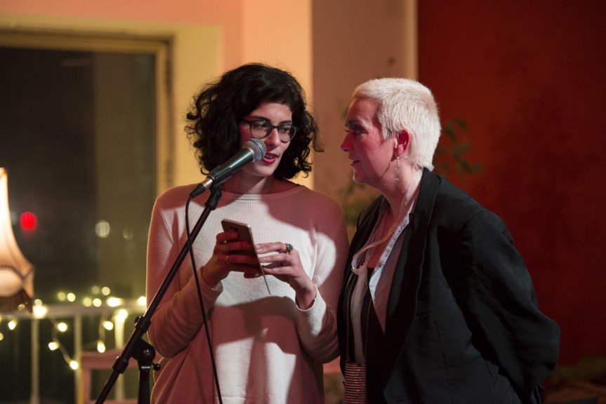 Rima Chakaroun (left) and Maeshelle West-Davies, regulars at past Leipzig Writers open mics, also performed at the LeipGlo/Baileo open mic in February. (Photo: Kate Hiller)