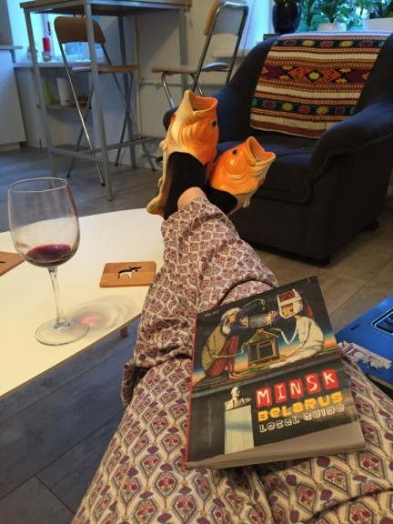 Hope you like my complementary goldfish slippers as much as I did. Ultimate chill. (Photo: Holly Doran)