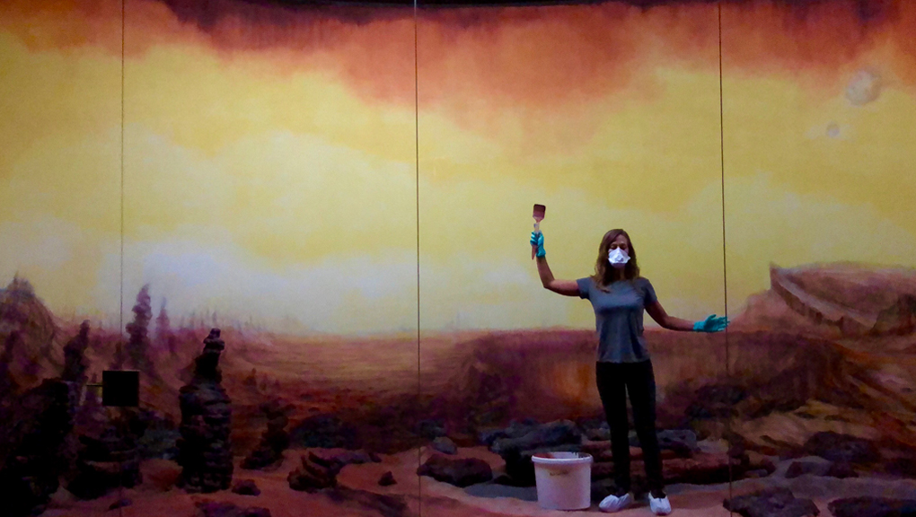 Artist Elizabeth Gerdeman, working on a diorama created for artist Dominique Gonzalez-Foerster's exhibit Martian Dreams Ensemble. (Photo © Elizabeth Gerdeman)