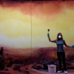 Artist Elizabeth Gerdeman, working on a diorama created for artist Dominique Gonzalez-Foerster's exhibit Martian Dreams Ensemble. (Photo © Elizabeth Gerdeman)
