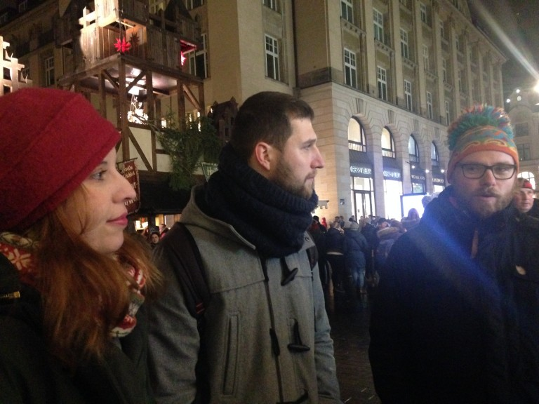 From left: Anne Dietrich, Matej Eber and Krischan Bockhorst of the Leipzig Free Walking Tour. (Photo: Ana Ribeiro)