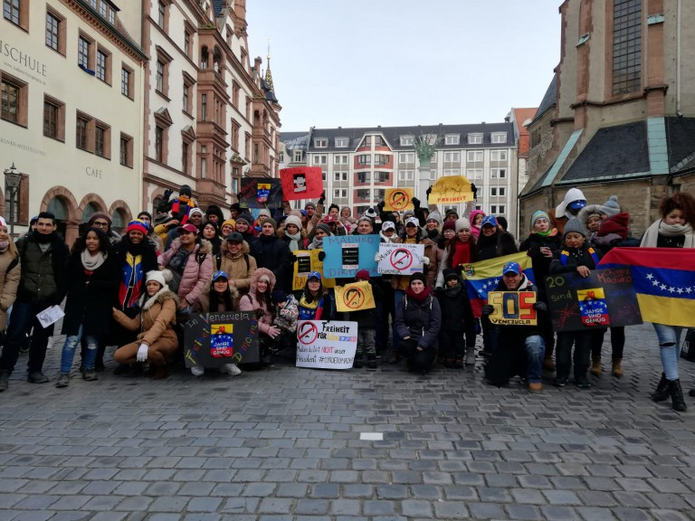 Venezuela protesting in Leipzig