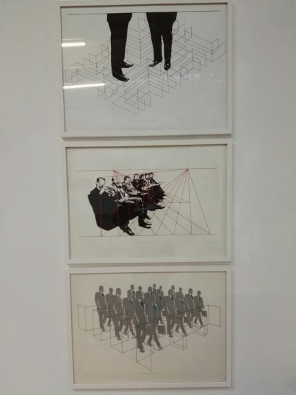 "Regina Silveira's ""Armadilha para executivo I,"" ""De Artificiali Perspectiva 3"" and ""Destrutura Executiva 3."" Silkscreen on paper. © Estúdio de Arte Regina Silveira"