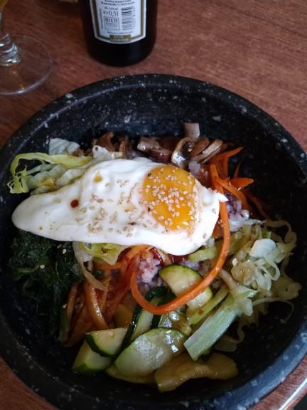 Bibimbap Korean dish in stone bowl