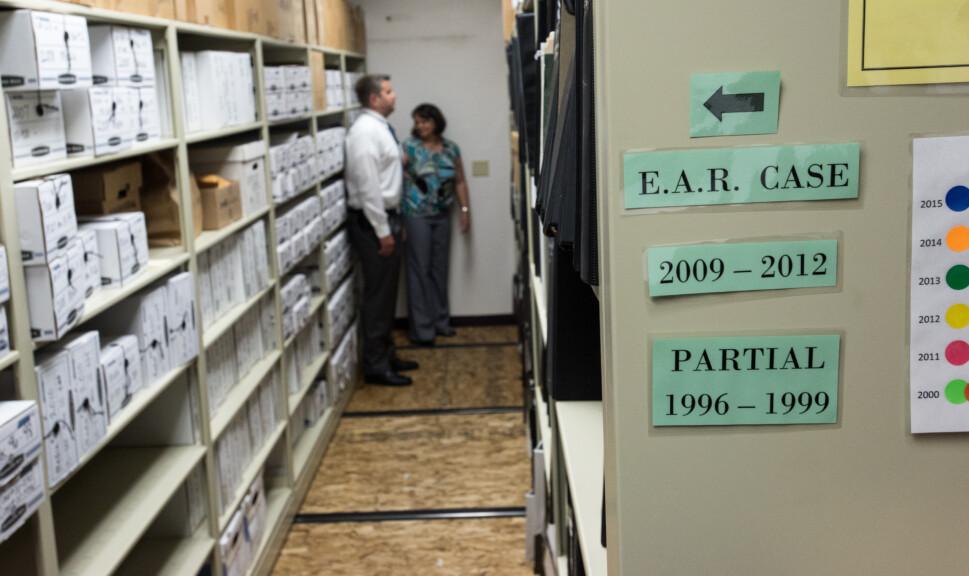 Sacramento Sheriffs Department Evidence Room for the EARONS Golden State Killer Case - photo courtesy of the FBI