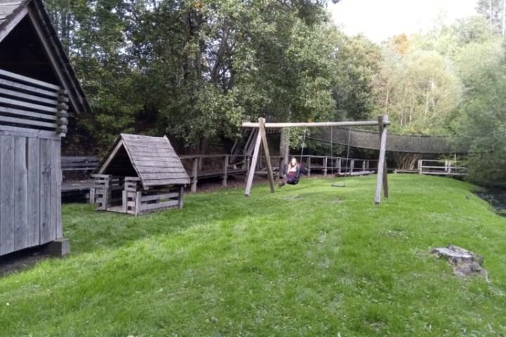 swingset in a garden